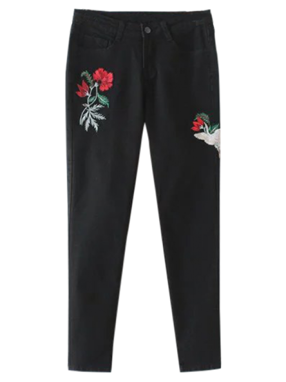 fancy Embroidered Tapered Jeans - BLACK L