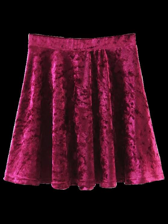 online Velvet Mini A-Line Skirt - WINE RED S