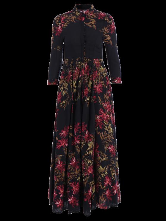 Leaf Print Maxi Shirt Dress - BLACK S Mobile