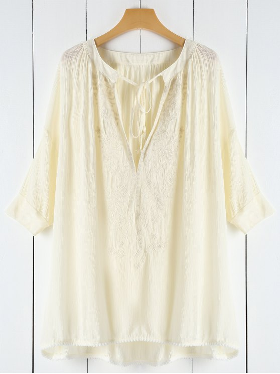 womens Lace See-Through Plunging Neck Cover-Up - OFF-WHITE ONE SIZE