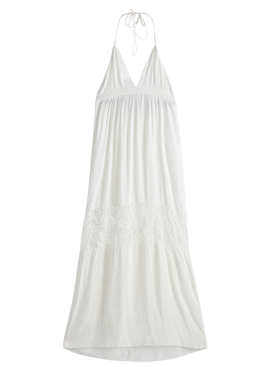 Open Back Halter Lace Panel Maxi Dress - WHITE M Mobile