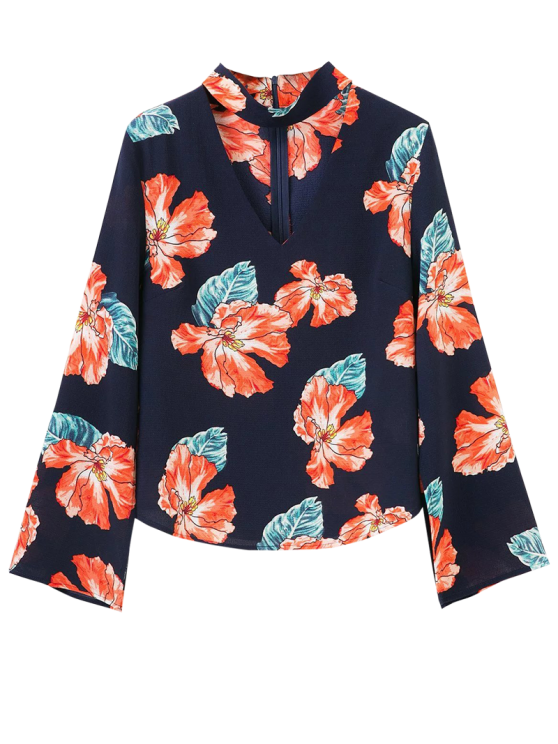 fancy Floral Choker Blouse - PURPLISH BLUE S
