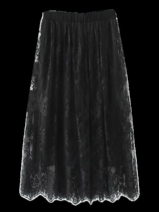 latest Layered Lace Panel Midi Skirt - BLACK M