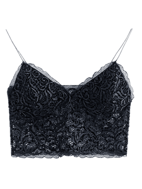 Embroidered Lace Panel Bra - BLACK ONE SIZE Mobile