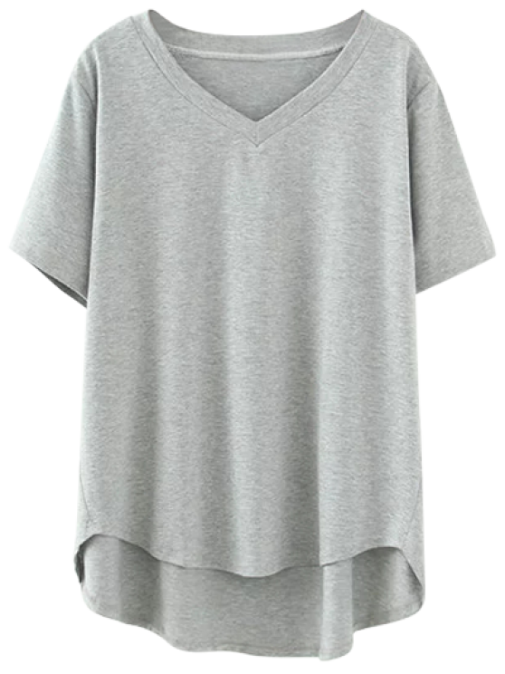 chic High Low V Neck T-Shirt - GRAY XL