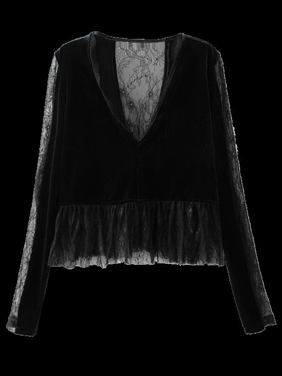 affordable Ruffles Lace Panel Velvet Blouse - BLACK S