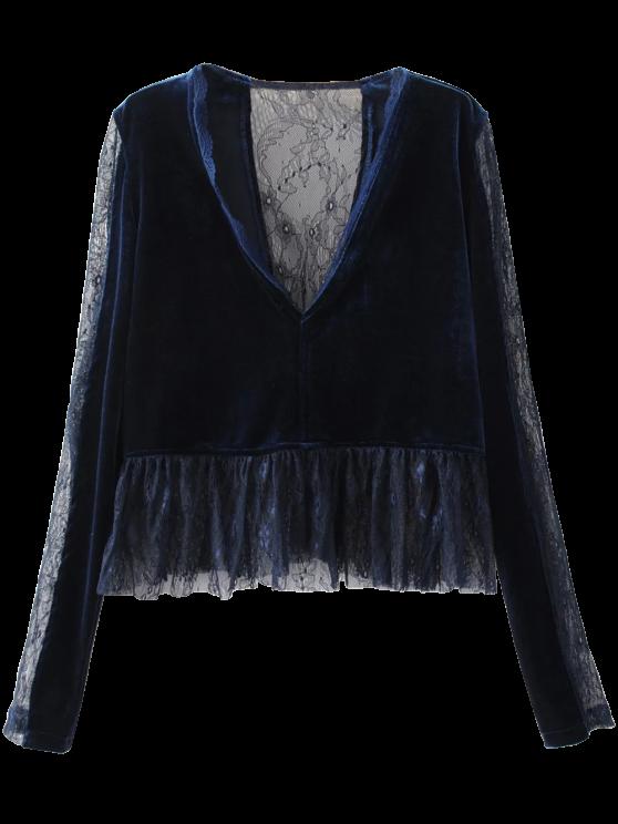 women Ruffles Lace Panel Velvet Blouse - PURPLISH BLUE S