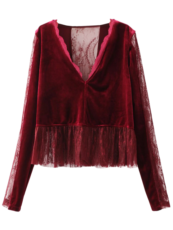 lady Ruffles Lace Panel Velvet Blouse - WINE RED S