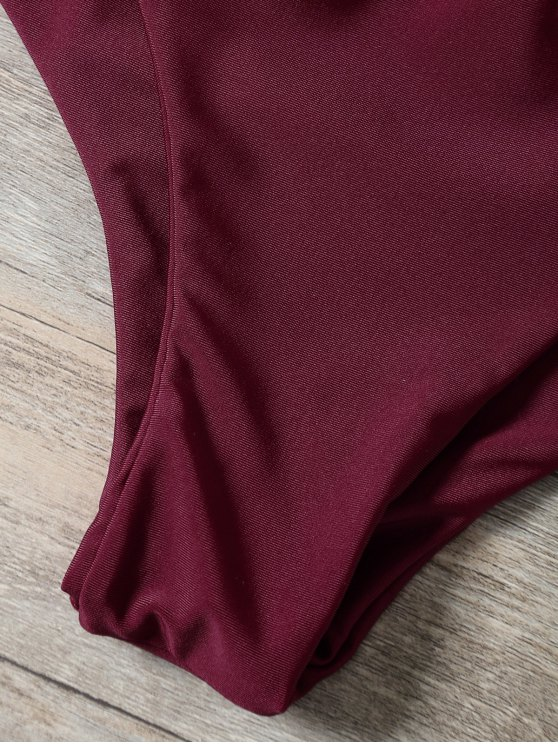 Braided Strappy Padded Bikini - BURGUNDY S Mobile