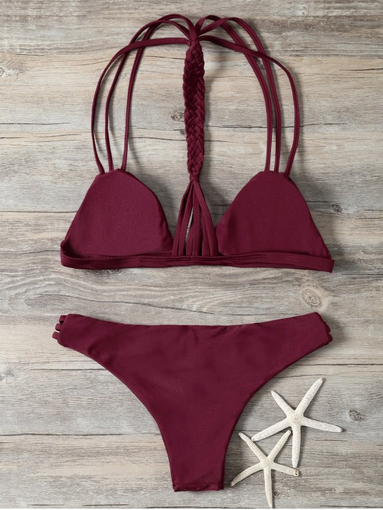 Braided Strappy Padded Bikini - BURGUNDY L Mobile