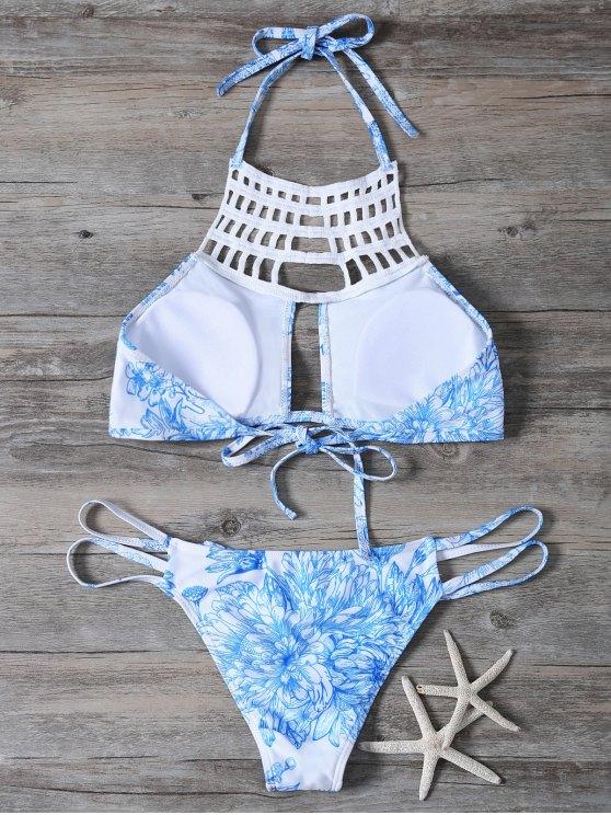 Printed String Cut Out Bikini Set - BLUE S Mobile