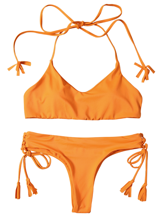 Tassels Lace-Up Bikini Set - ORANGEPINK L Mobile