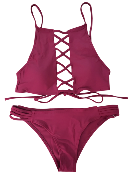 Lace-Up High Neck Bikini - WINE RED M Mobile