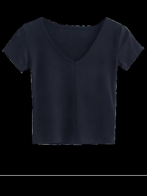 Recortada hace punto la camiseta - Negro S