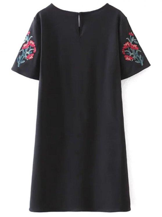 Embroidered Sleeve A Line Dress - BLACK L Mobile