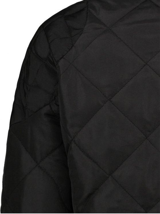 Argyle Stand Neck Solid Color Jacket - BLACK L Mobile