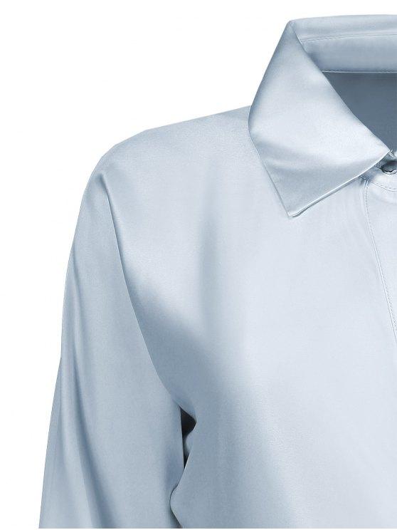 Crossover Wrap Shirt Dress - GRAY M Mobile