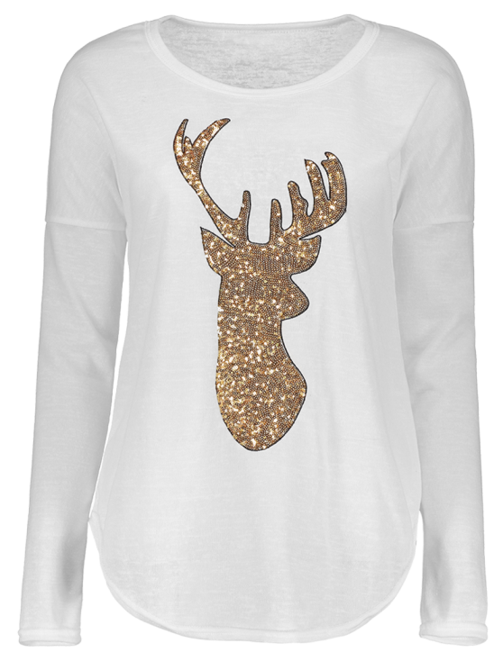 Sequins Elk Graphic Tee - WHITE XL Mobile
