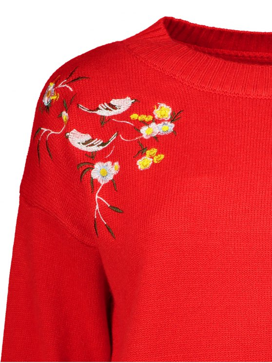 Slit Embroidered High-Low Sweater - RED ONE SIZE Mobile