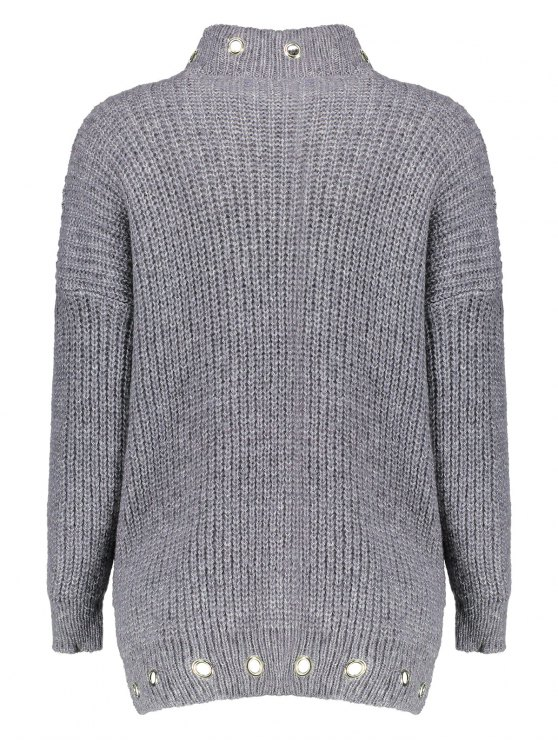 High Low Ring Embellished Ribbed Sweater - GRAY ONE SIZE Mobile