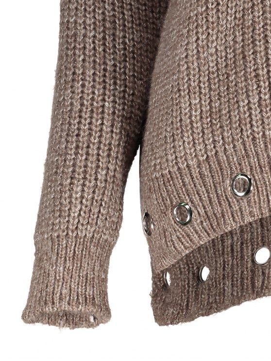 High Low Ring Embellished Ribbed Sweater - DARK KHAKI ONE SIZE Mobile
