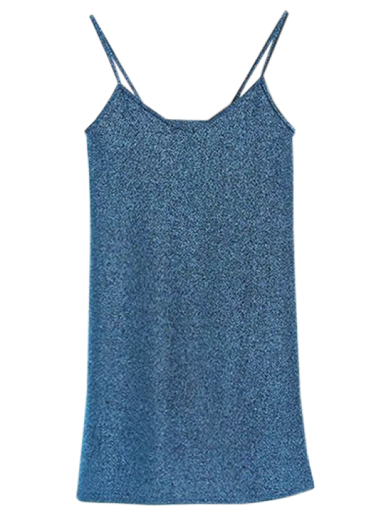 womens Glitter Slip Mini Dress - PEACOCK BLUE ONE SIZE