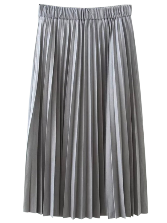 affordable Elastic Waist Pleated Faux Suede Skirt - SILVER XL