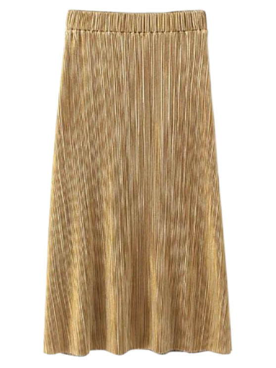 new Glitter Pleated Midi Skirt - GOLDEN S