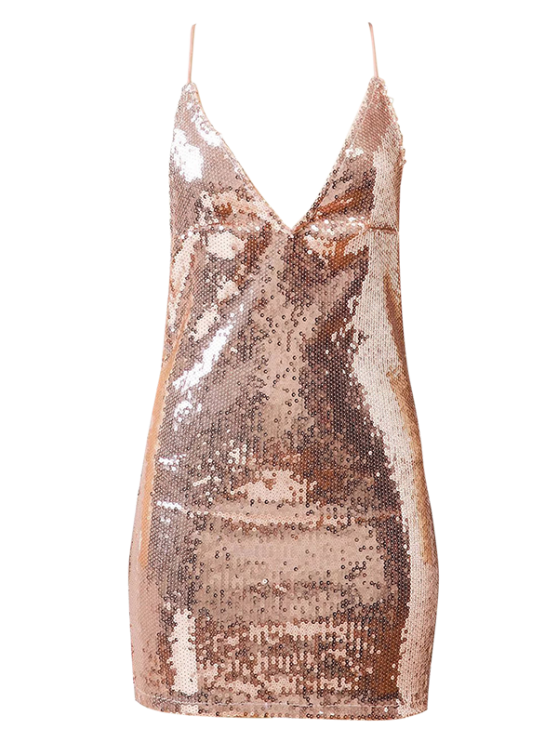 online Backless Slip Sequins Sexy Bodycon Dress - PAPAYA M