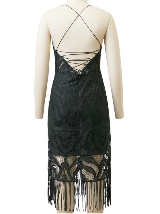 Lace Panel Fringed Strappy Backless Dress - BLACK M Mobile