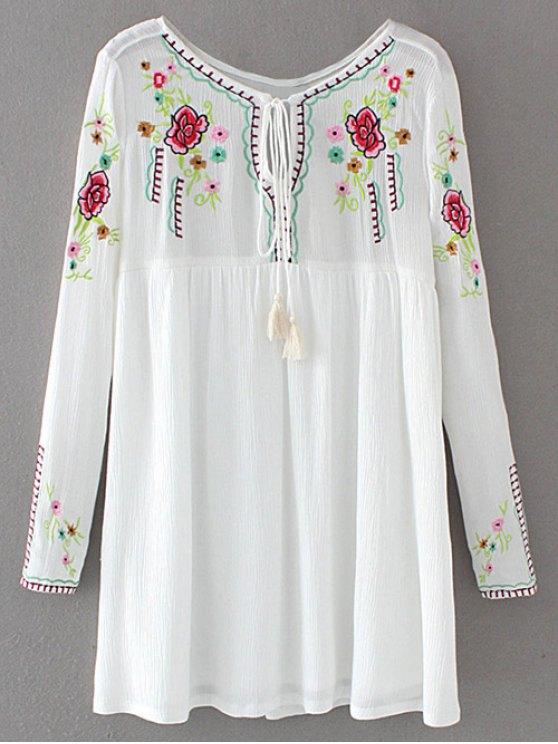 lady Drawstring Embroidered Floral Smock Vintage Dress - WHITE S