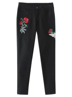 Embroidered Tapered Jeans - Black L