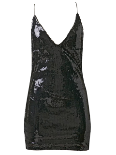 Backless Slip Sequins Sexy Bodycon Dress - Black M
