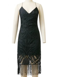 Lace Panel Fringed Strappy Backless Dress - Black S