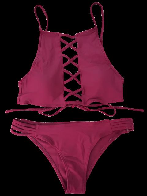 sale Lace-Up High Neck Bikini - WINE RED L Mobile