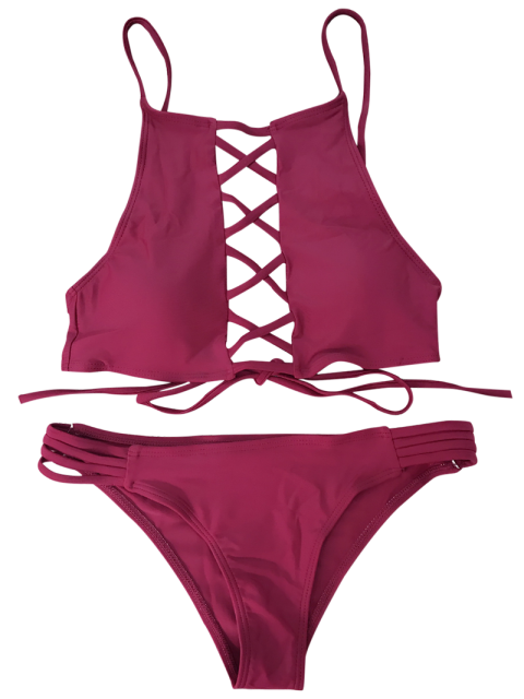 affordable Lace-Up High Neck Bikini - WINE RED M Mobile