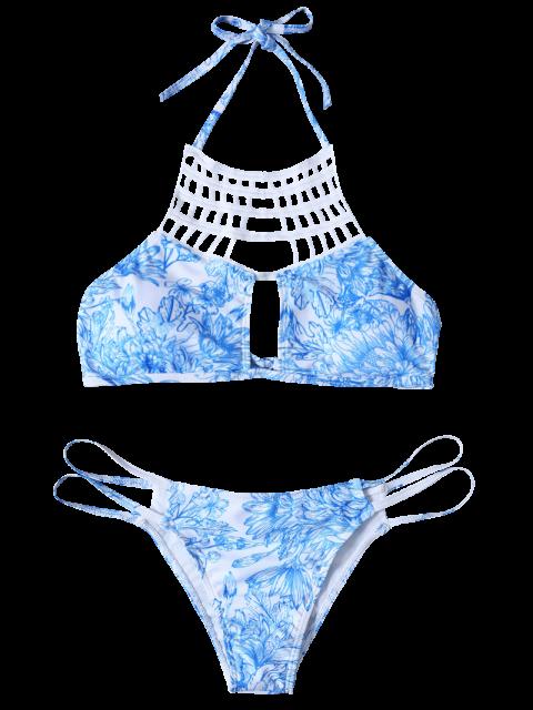 shop Printed String Cut Out Bikini Set - BLUE M Mobile