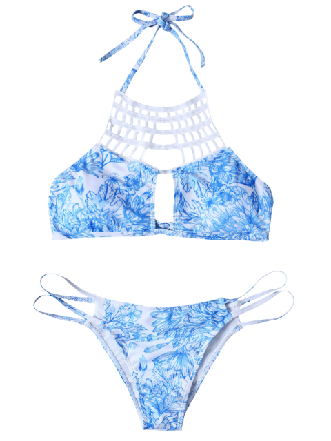 shops Printed String Cut Out Bikini Set - BLUE S Mobile