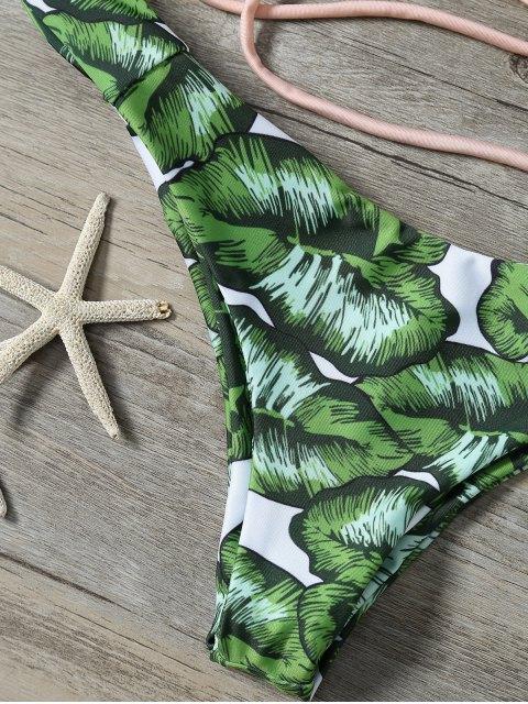 hot String Low Cut Tropical Print Bikini Set - GREEN XL Mobile