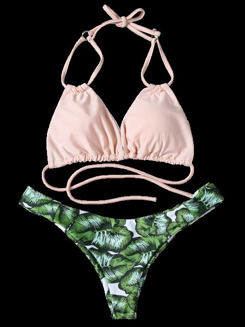 shop String Low Cut Tropical Print Bikini Set - GREEN S Mobile