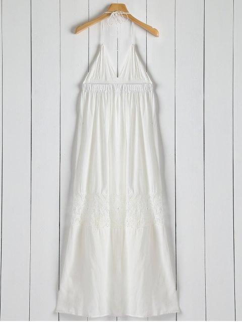 trendy Open Back Halter Lace Panel Maxi Dress - WHITE L Mobile