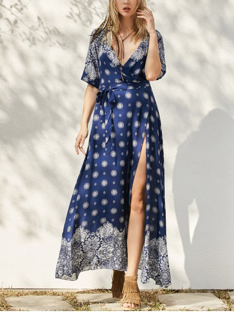 fashion Bohemian Printed Belted Maxi Dress - PURPLISH BLUE ONE SIZE Mobile
