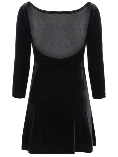 shop Open Back Mini Fit and Flare Dress - BLACK S Mobile