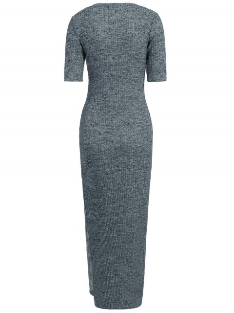 latest Ribbed Long Dress - GRAY XL Mobile