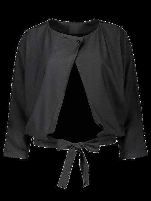 hot Batwing Sleeve Tie Back Blouse - BLACK M Mobile