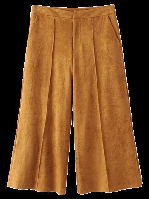 women Gaucho Faux Suede Pants - DARK KHAKI L Mobile