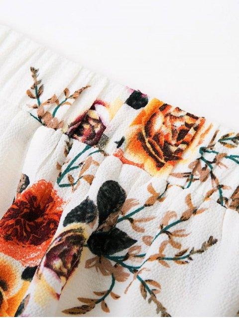 best Slit Floral Wide Leg Pants - WHITE M Mobile