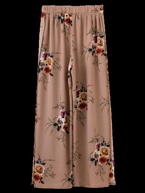 outfit Slit Floral Wide Leg Pants - PALE PINKISH GREY S Mobile