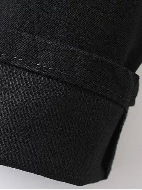 affordable Embroidered Tapered Jeans - BLACK S Mobile