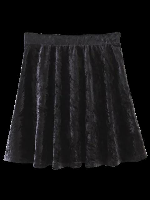 sale Velvet Mini A-Line Skirt - BLACK S Mobile